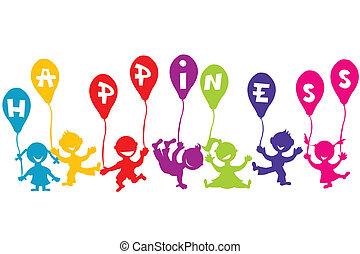 幸福, 童年, 概念, 带, 孩子, 同时,, 气球