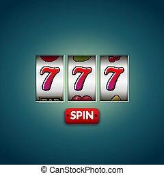 幸运七, 777, 狭缝, machine., 娱乐场, vegas, game., 赌博, 财富, chance.,...