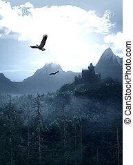 幻想, 城堡, 山