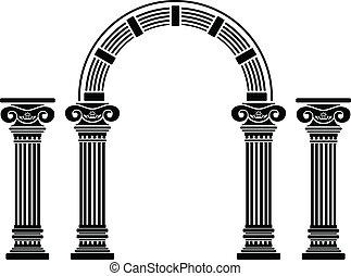 幻想, 拱, 以及, columns., stencil