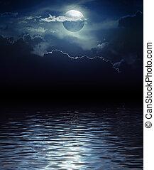 幻想, 月亮, 以及, 云霧, 在上方, 水