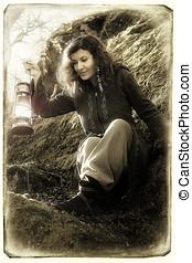 幻想, 美麗的婦女, 由于, 顏色, 光, 燈, 在, the, 苔蘚, 岩石