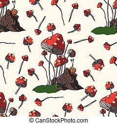 幻想, 蘑菇, vector.