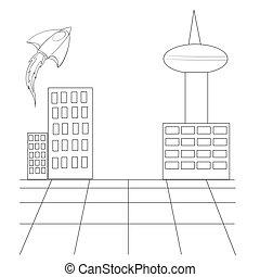 幻想, 隔离, 着色, 城市的地形, 背景, 描述, 矢量, 白色, 书, 对象, 摩天楼, 勾画, 火箭, 卡通漫画