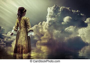 幻想, concept., a, 天空, ......的, 云霧, 反映 在, a, 平靜, sea.
