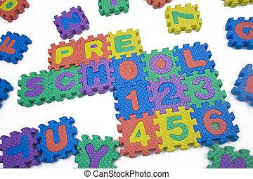 幼儿園, 以及, 數字