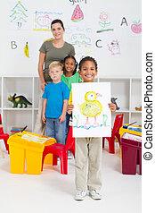 幼儿園, 男孩, 在, 教室