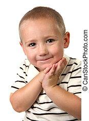 幼児, ∥で∥, 手, に対して, 彼の, 顔