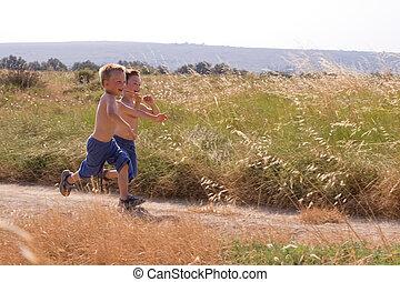幼児, 動くこと, 中に, ∥, 自然