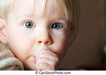 幼児, 吸う, 彼女, thumb.