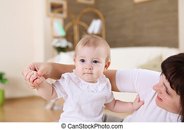 幼児, 彼女, 若い, 母, 赤ん坊, 家