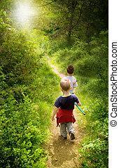 幼児, 歩くこと, 中に, 森林