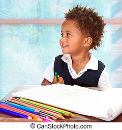 幼稚園児, アフリカ, かわいい