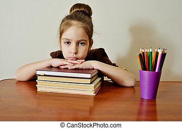 幼稚園児, 女の子, 疲れた