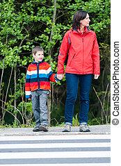 幼稚園児, 横断歩道, 母