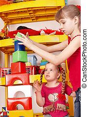 幼稚園, セット,  plaing, 建設, 子供, ブロック