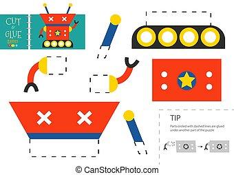 幼稚園, ベクトル, ペーパーを切りなさい, worksheet, 教育, のり, 子供, toy.