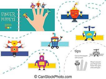 幼稚園, ベクトル, 切口, puppets., 指, ロボット工学, のり, 活動, 子供