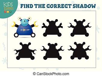 幼稚園, ロボット, 教育, 影, ミニ, かわいい, ゲーム, ファインド, 漫画, 子供, 正しい
