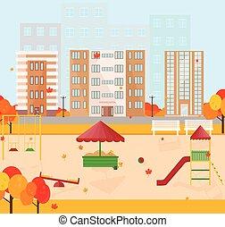 幼稚園, 中に, 秋, 季節, ベクトル, 背景