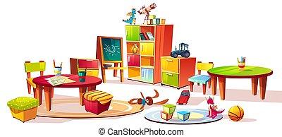 幼稚園, 内部, ベクトル, イラスト, 家具