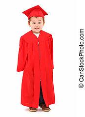 幼稚園, 卒業生, 中に, 式服式帽