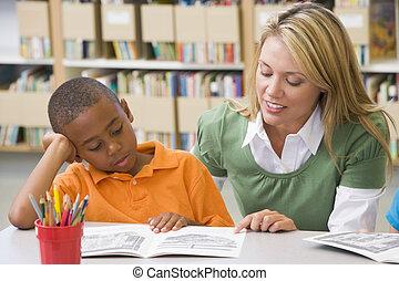 幼稚園, 教師, 助力, 学生, ∥で∥, 読書, 技能
