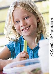 幼稚園, 昼食, 女の子, 食べること