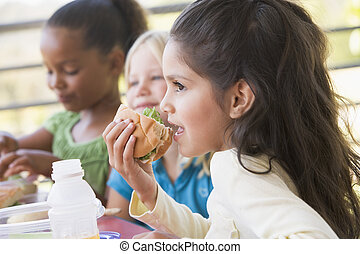 幼稚園, 昼食, 食べること, 子供