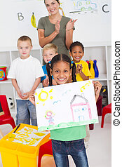 幼稚園, african american 少女