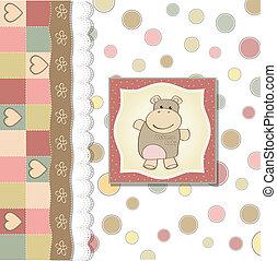 幼稚, 女の赤ん坊, シャワー, カード