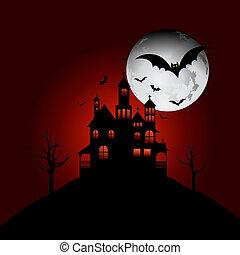 幽霊が出る家, 上に, a, 丘