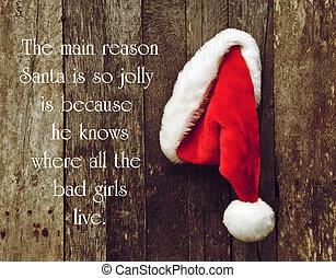 幽默, 引用, 大約, 聖誕老人, 所作, 喬治, carlin, 由于, 聖誕老人的, 帽子, 暫停執行在上, a, 鄉村, 木制, wall.
