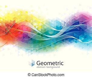 幾何学的, カラフルである, 背景, 波