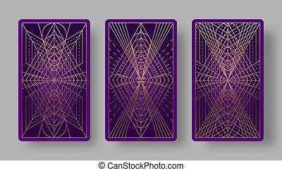 幾何学的, カード, 背中, tarot, セット, パターン
