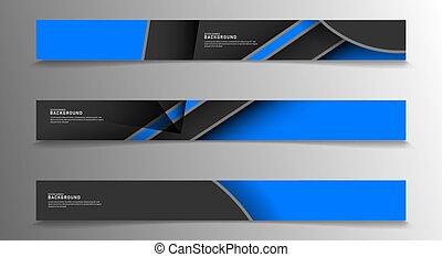 幾何学的, コレクション, ベクトル, デザイン, blue., banners., 長方形, 形, 重複