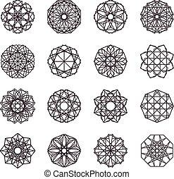 幾何学的, セット, モザイク, 装飾
