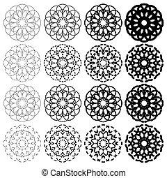 幾何学的, セット, ラウンド, 装飾