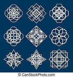 幾何学的, セット, 装飾
