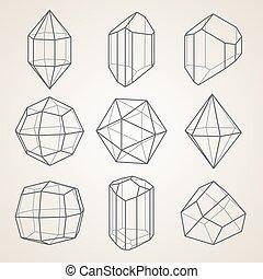 幾何学的, セット, crystals.
