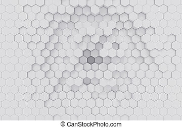 幾何学的, バックグラウンド。, レンダリング, 六角形, 白, 抽象的, 3d