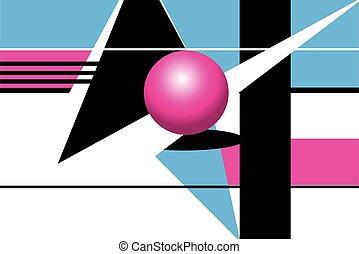 幾何学的, ベクトル, オブジェクト, shapes., 背景, 興味を起こさせること, 抽象的