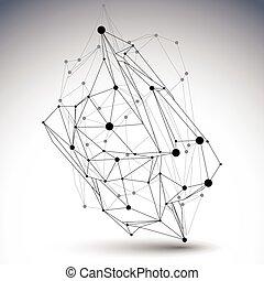 幾何学的, ベクトル, 抽象的, 3d, 複雑, 格子, オブジェクト, 単一