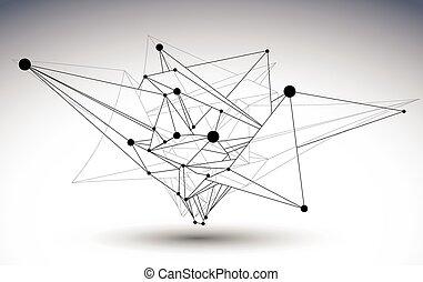 幾何学的, ベクトル, 抽象的, 3d, 複雑, 格子, オブジェクト, 単一, 色, きたない, eps8, 概念, 技術, illustration.