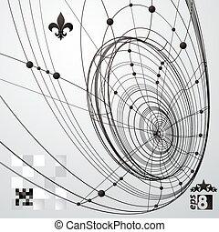 幾何学的, ベクトル, 抽象的, 3d, 複雑, 格子, 背景, 単一, 色, eps8, 概念, 技術, illustration.