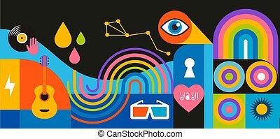 幾何学的, ベクトル, 旗, デザイン, 背景, design., ポスター, 壁, 概念, 祝祭, カーニバル, ...