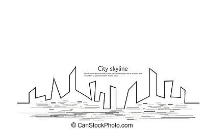 幾何学的, 建物, 現代, 超高層ビル, 絶え間がない, オフィス, ベクトル, ライン。, 線, 平ら, シルエット, horizon., illustrations., 景色。, 都市, 都市, 効果, 動き, style., drawing., 数字