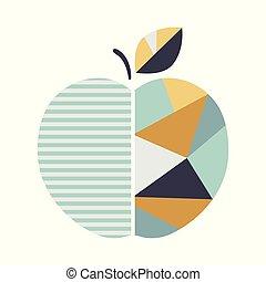 幾何学的, 現代, アップル, illustration.