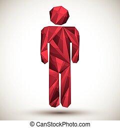 幾何学的, 現代, 最上の人, アイコン, スタイル, 作られた, 赤, 使用, 3d