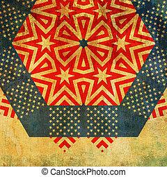 幾何学的, 装飾, ストライプ, グランジ, 星